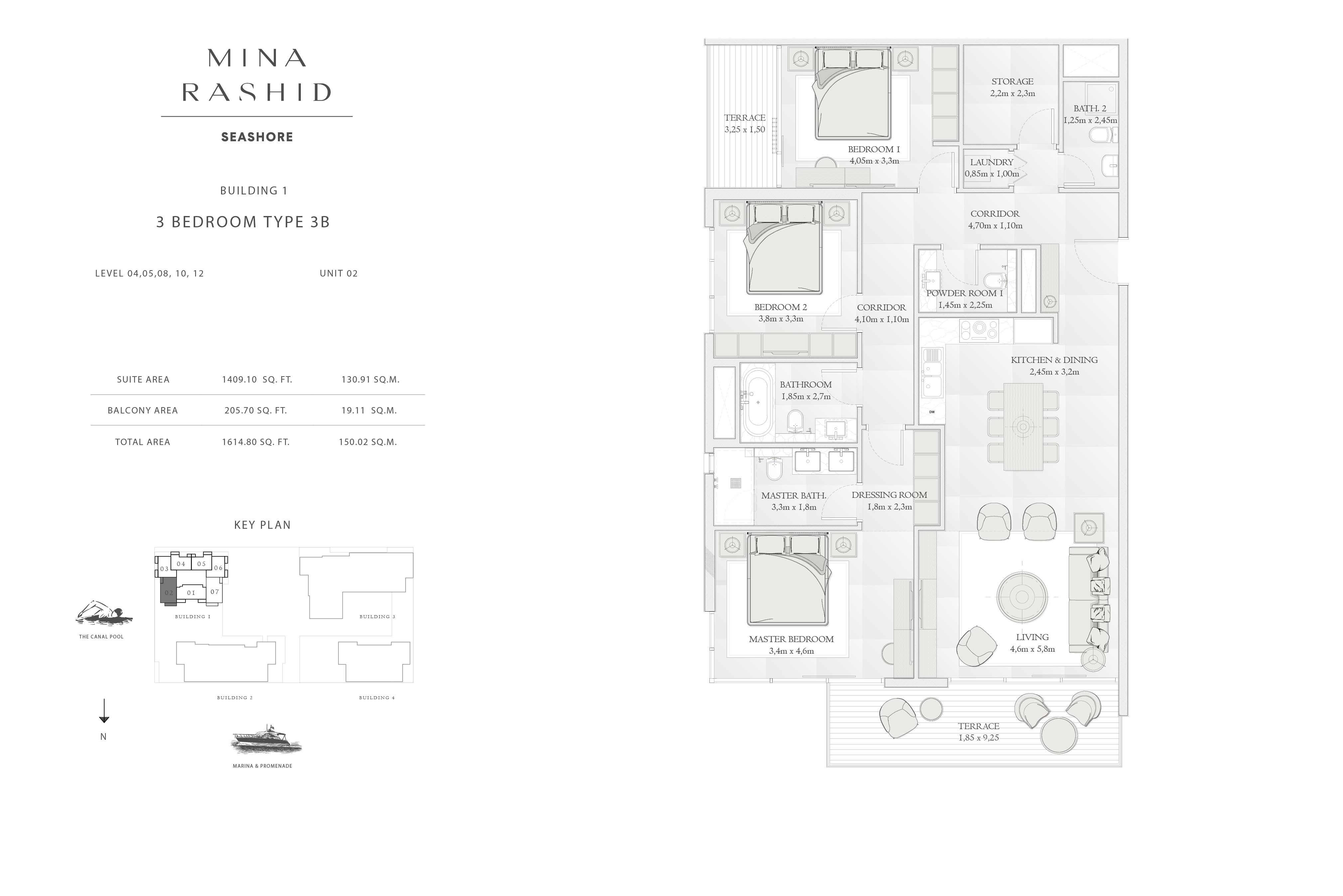 Building-1, 3-Bedroom Type-3B, Size-1614-Sq-Ft