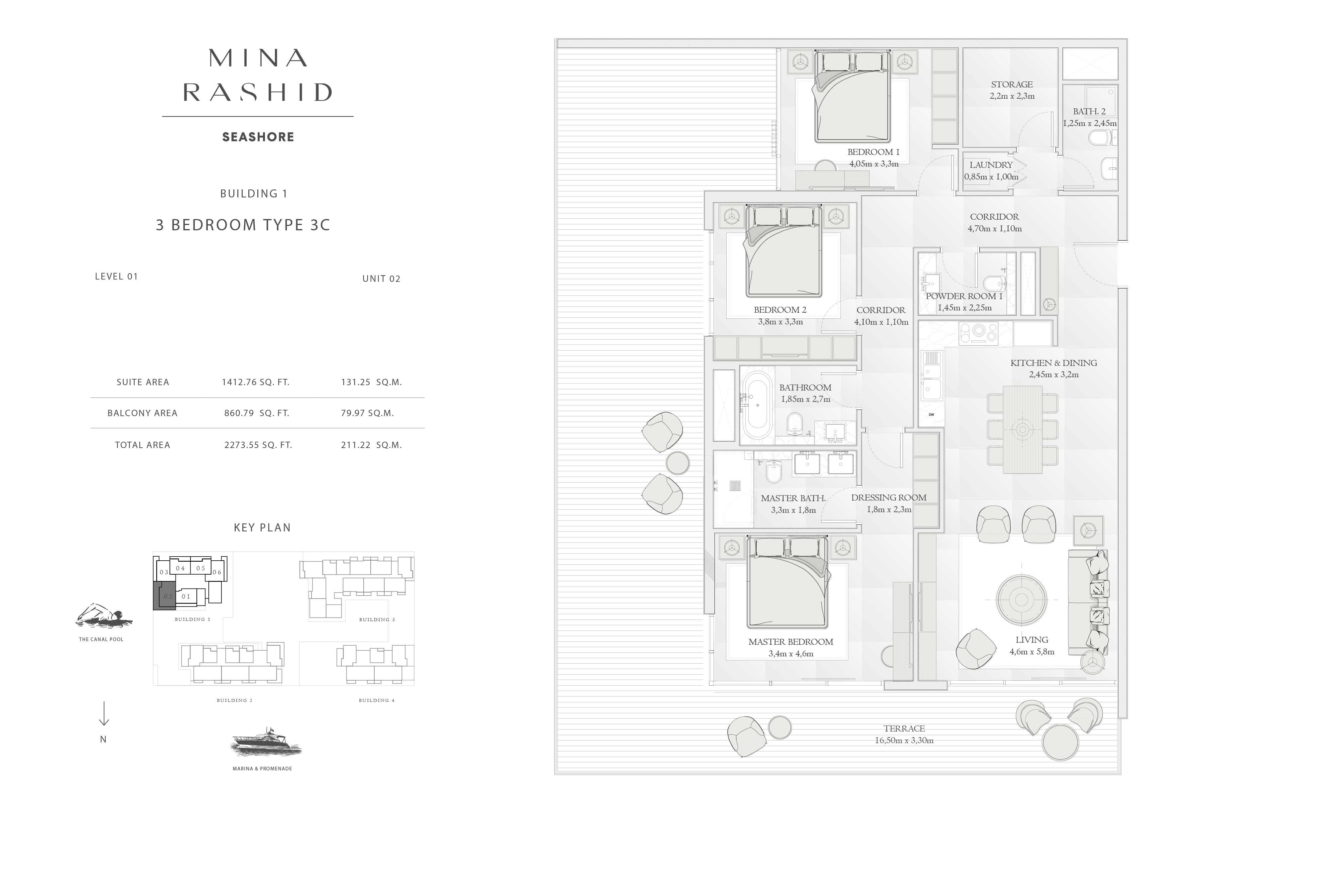 Building-1, 3-Bedroom Type-3C, Size-2273-Sq Ft
