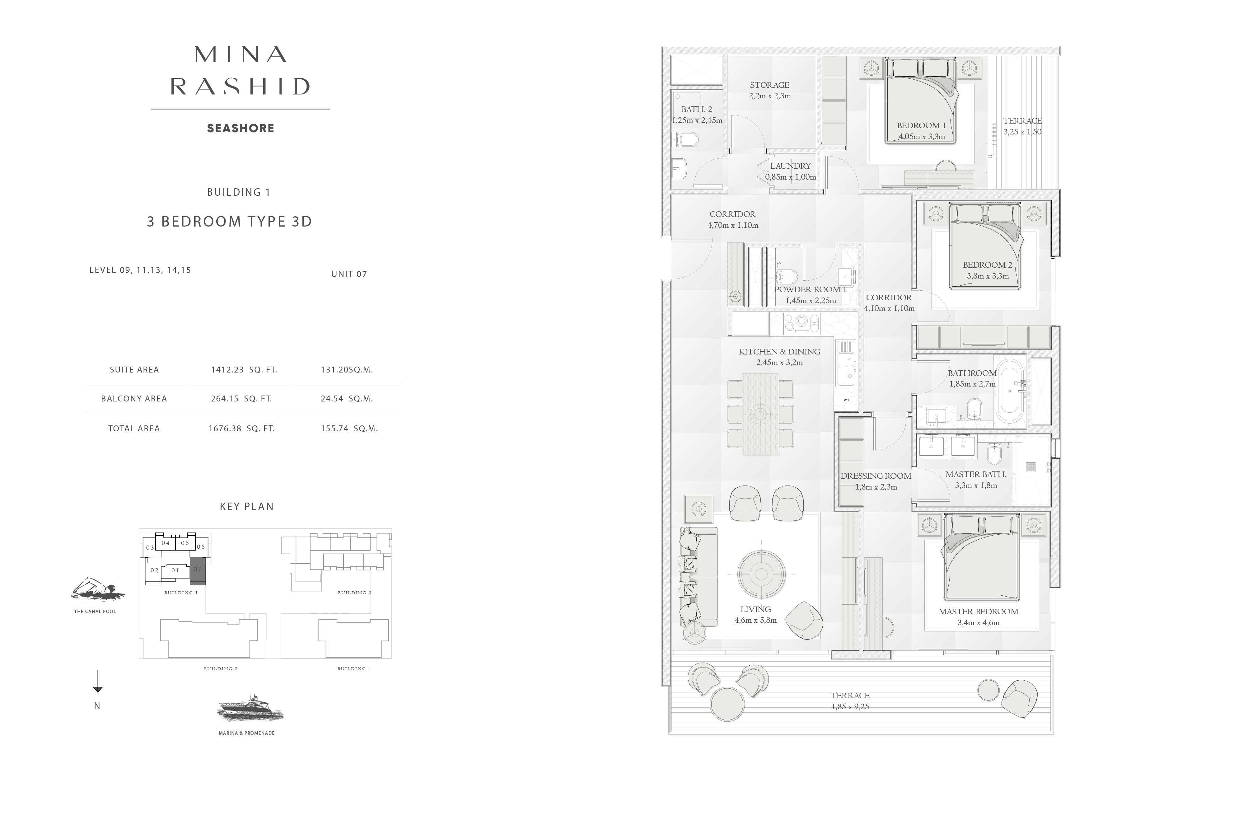 Building-1, 3-Bedroom Type-3D, Size-1676-Sq-Ft