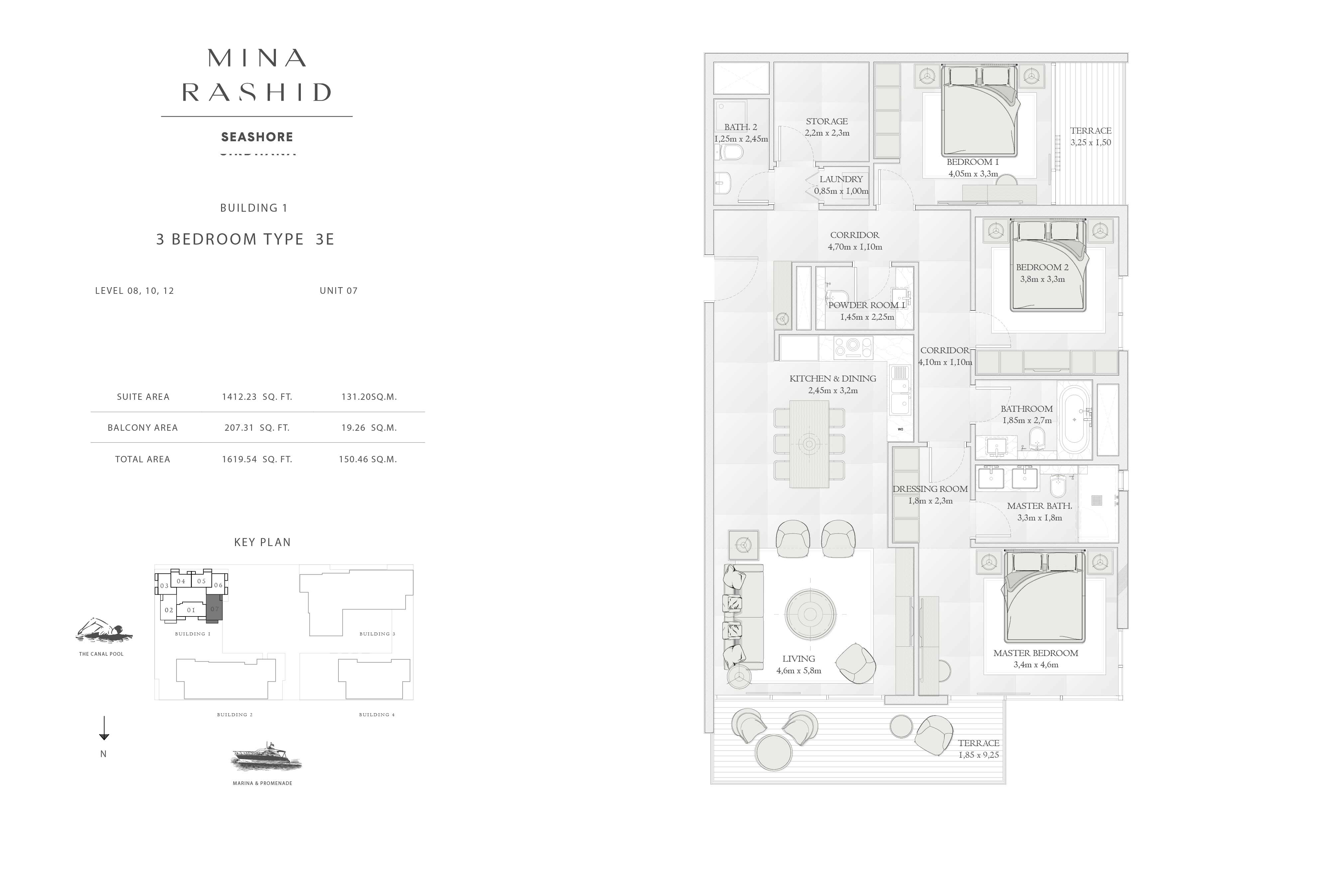 Building-1, 3-Bedroom Type-3E, Size-1619-Sq-Ft