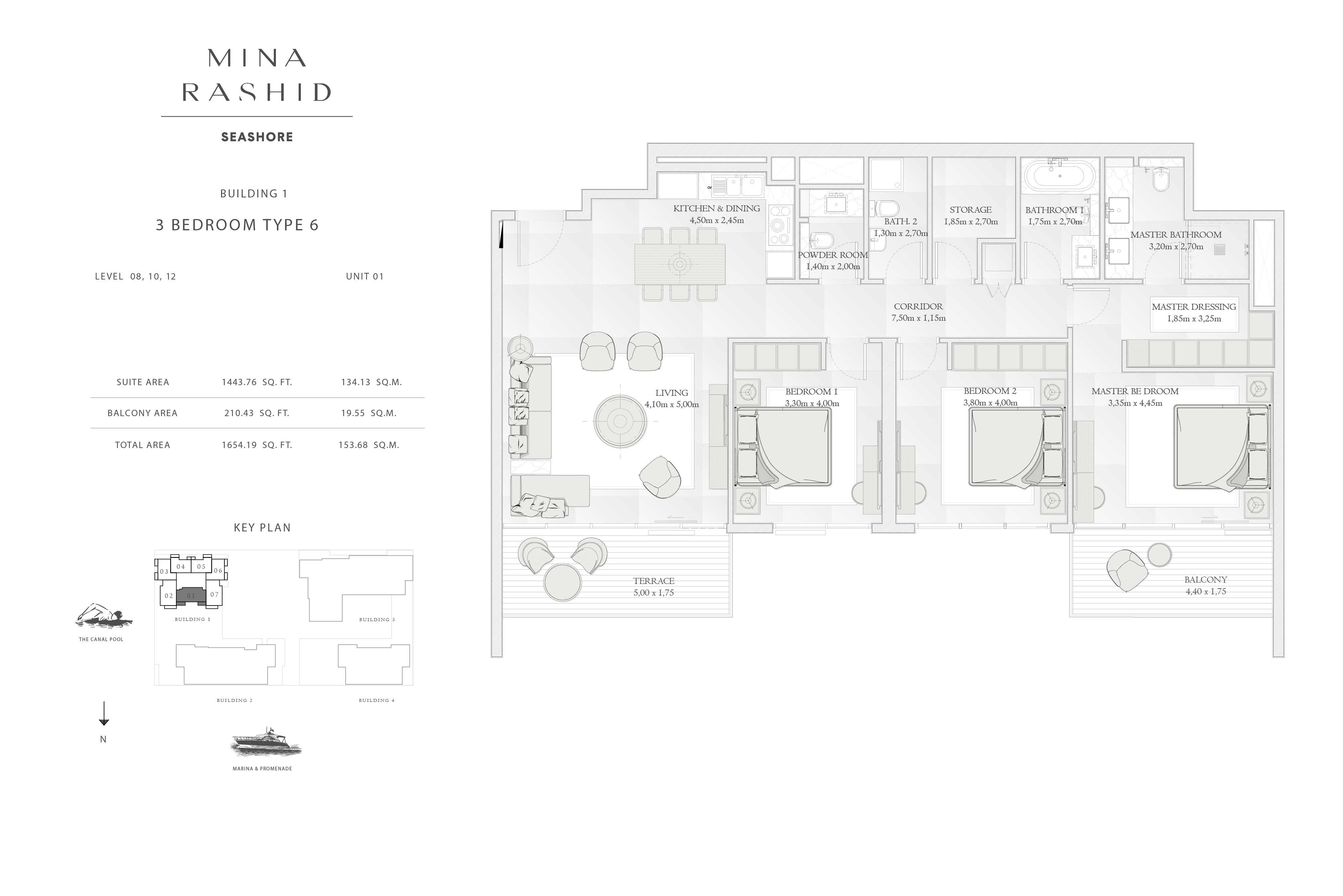 Building-1, 3-Bedroom Type-6, Size-1654-Sq-Ft