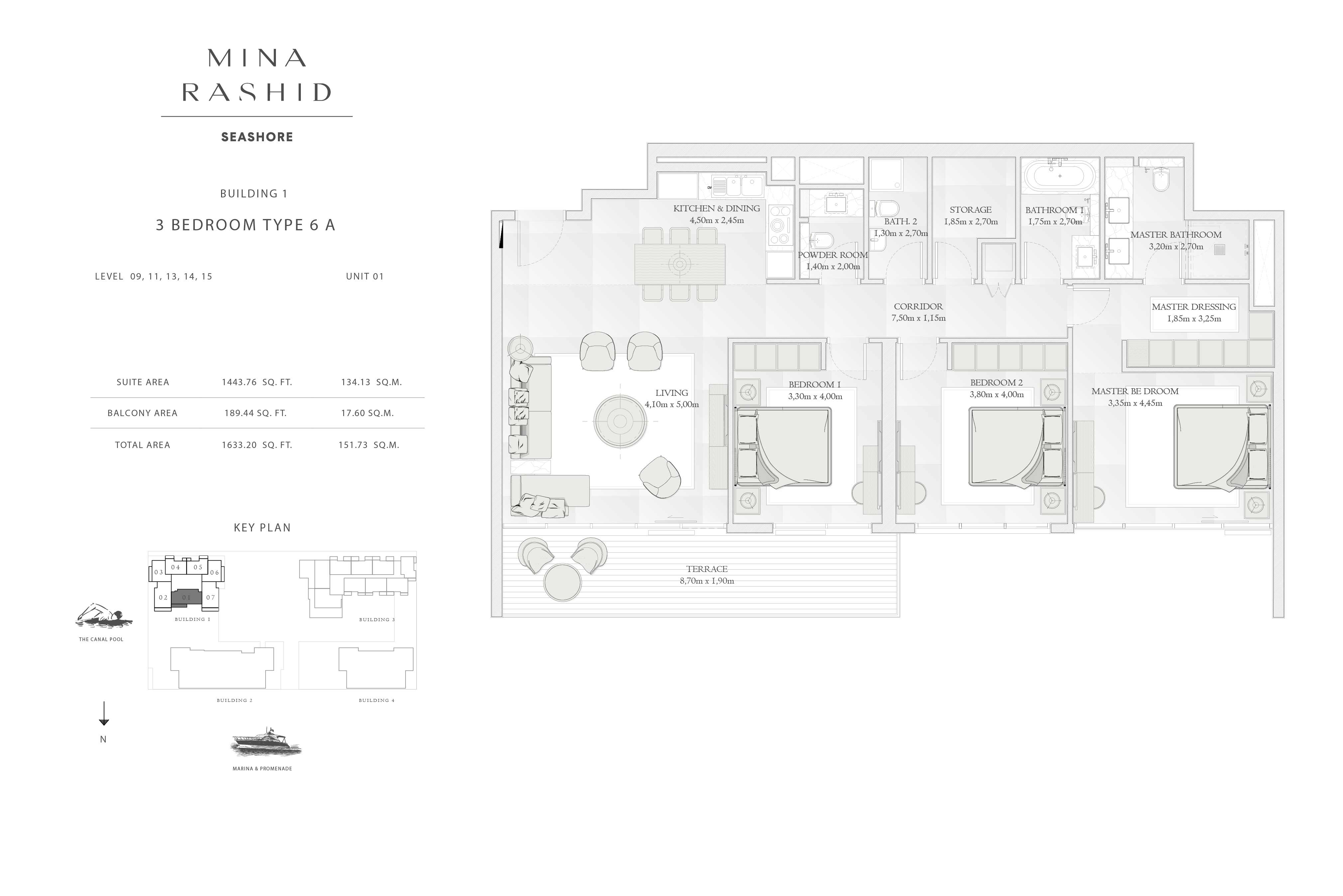 Building-1, 3-Bedroom Type-6A, Size-1633-Sq-Ft