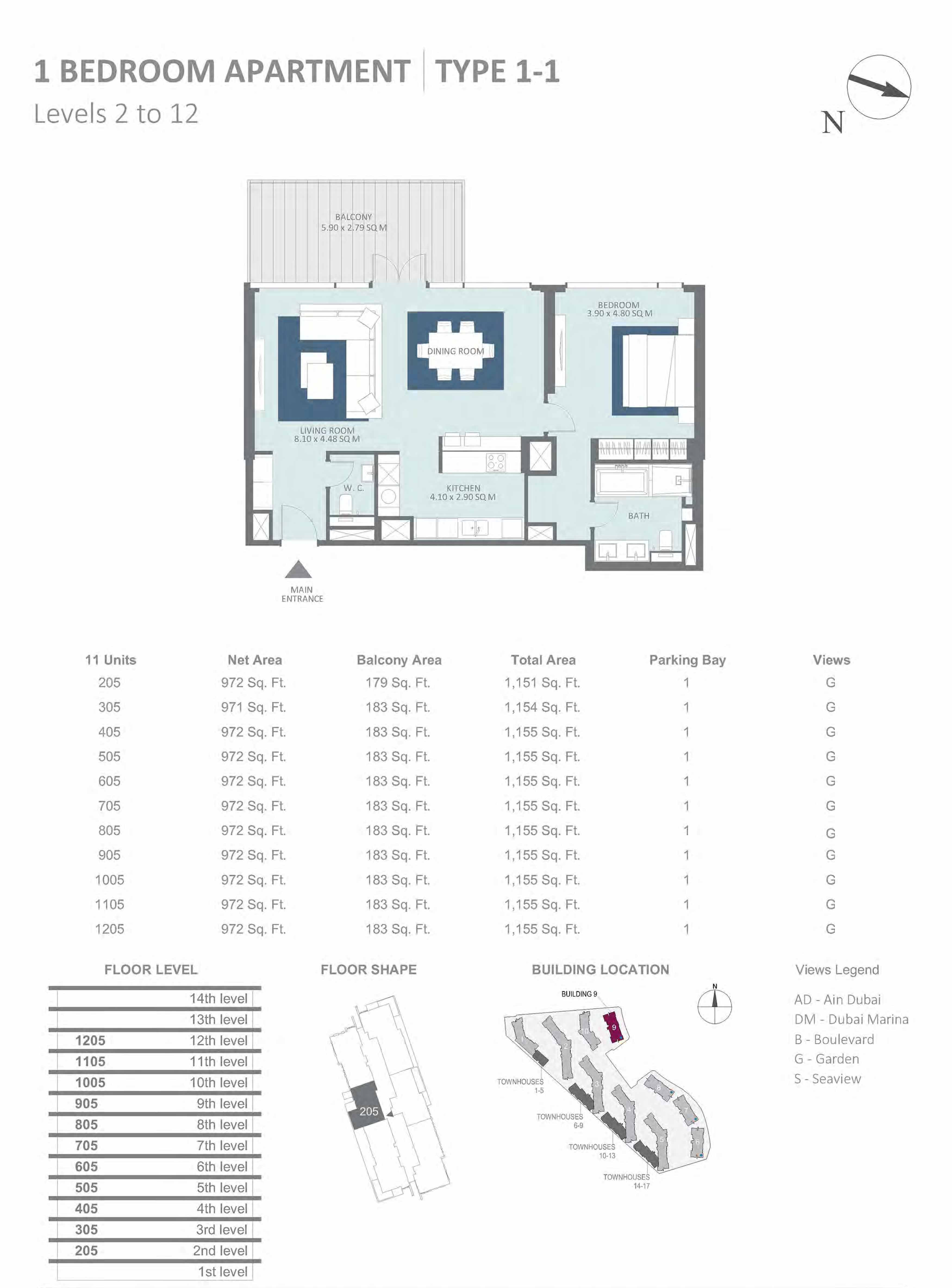 Building 9 - 1 Bedroom Type 1-1, Level 2 to 12 Size 1151 to 1155 sq.ft
