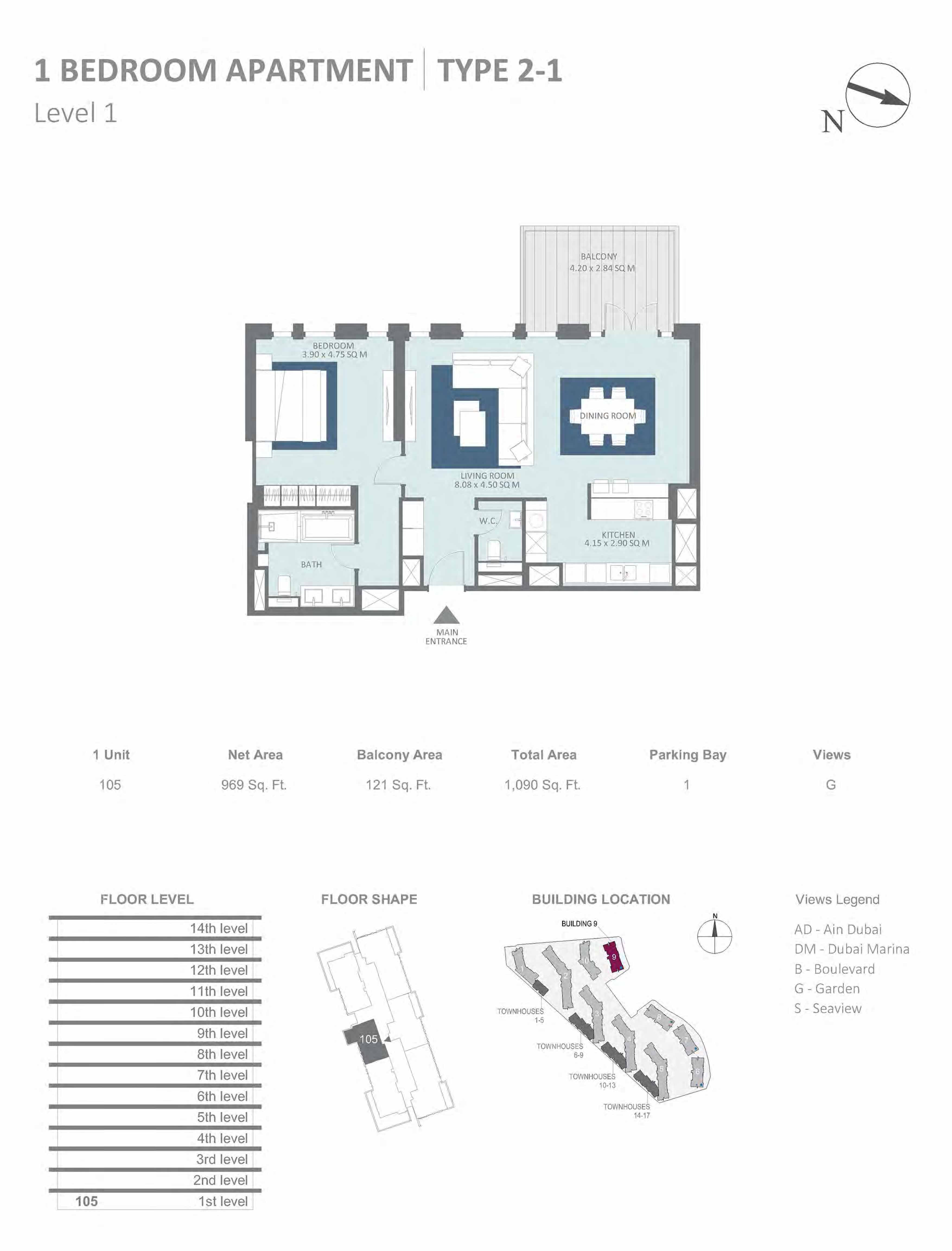 Building 9 - 1 Bedroom Type 2-1, Level 1 Size 1090 sq.ft