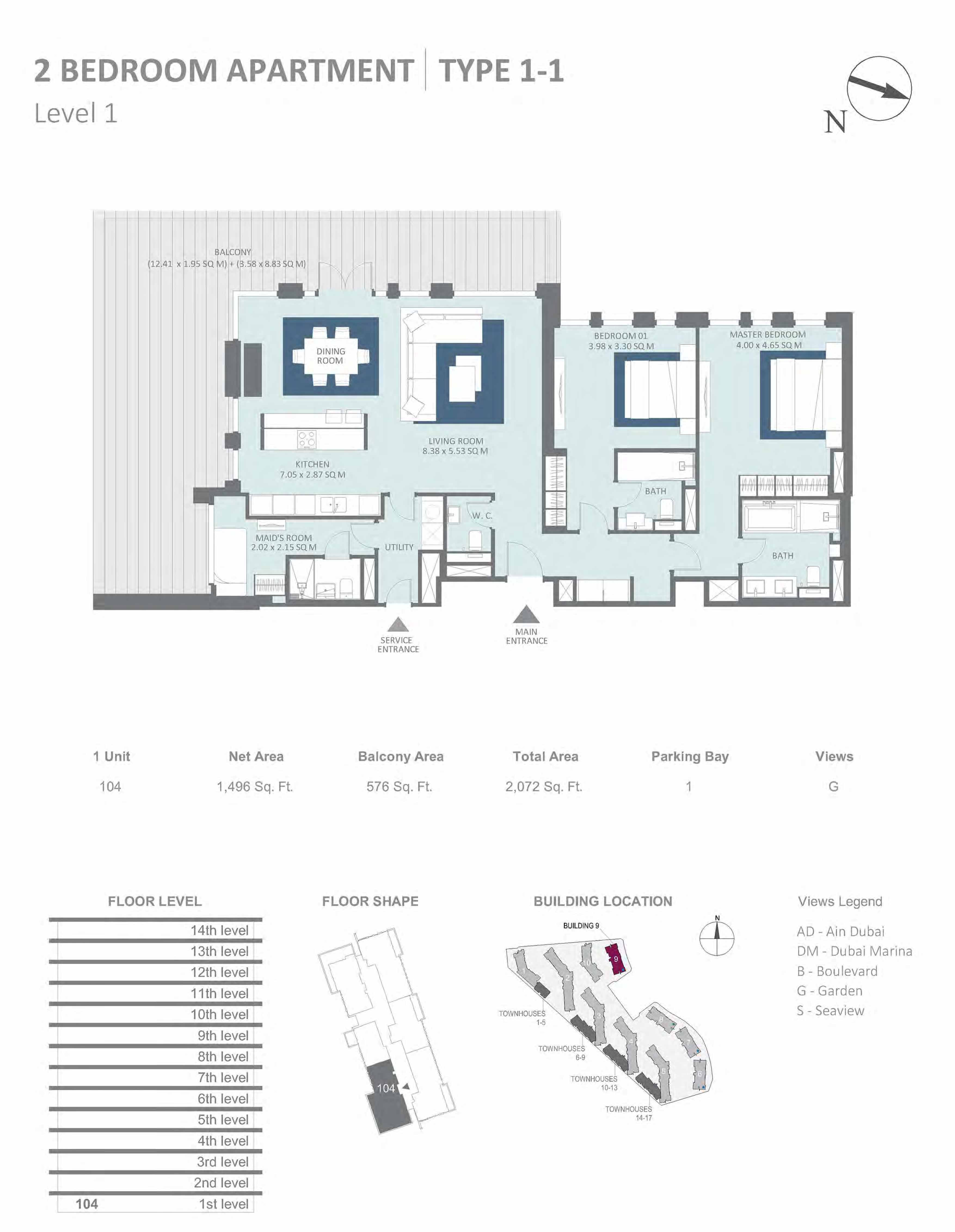Building 9 - 2 Bedroom Type 1-1, Level 1 Size 2072 sq.ft