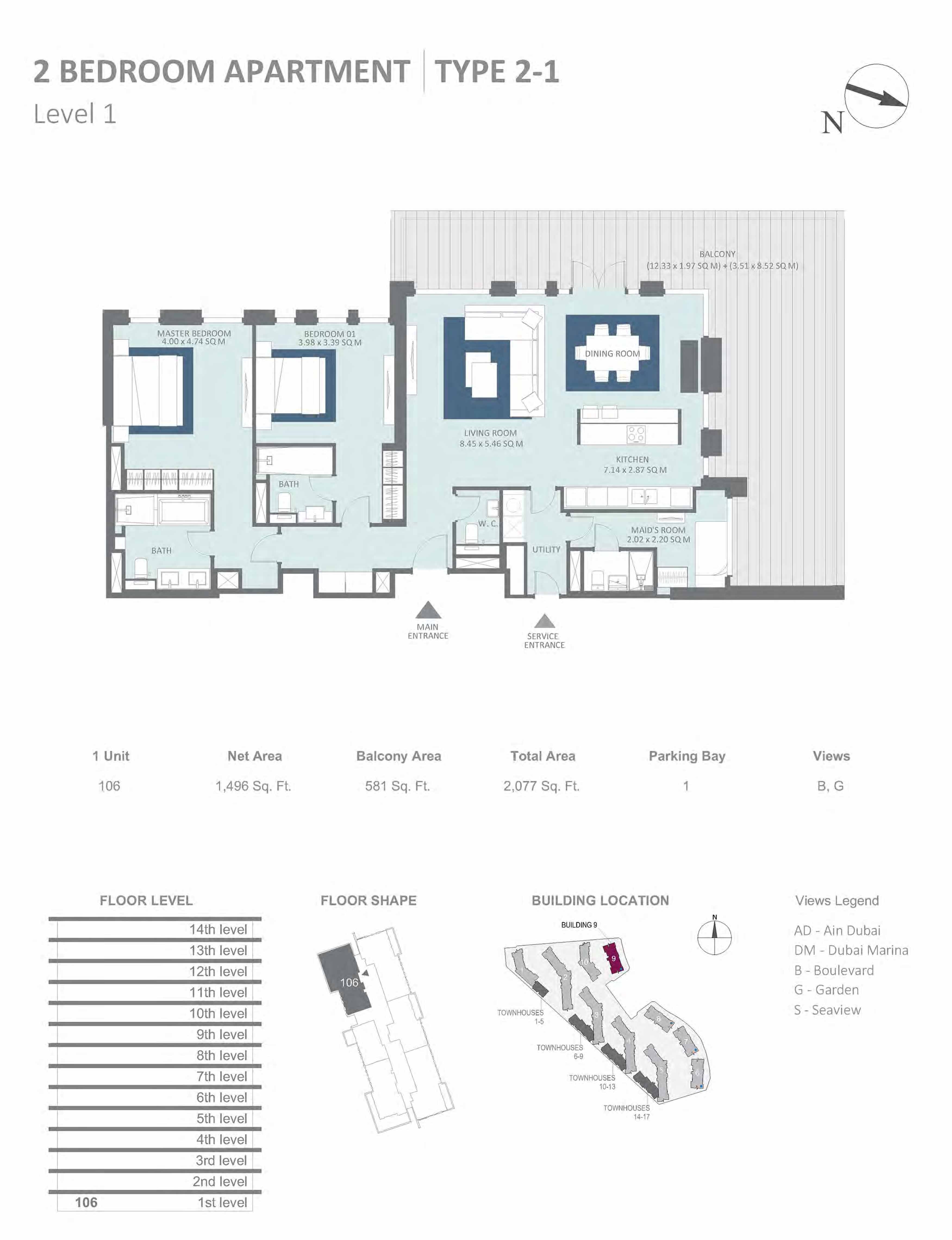 Building 9 - 2 Bedroom Type 2-1, Level 1 Size 2077 sq.ft