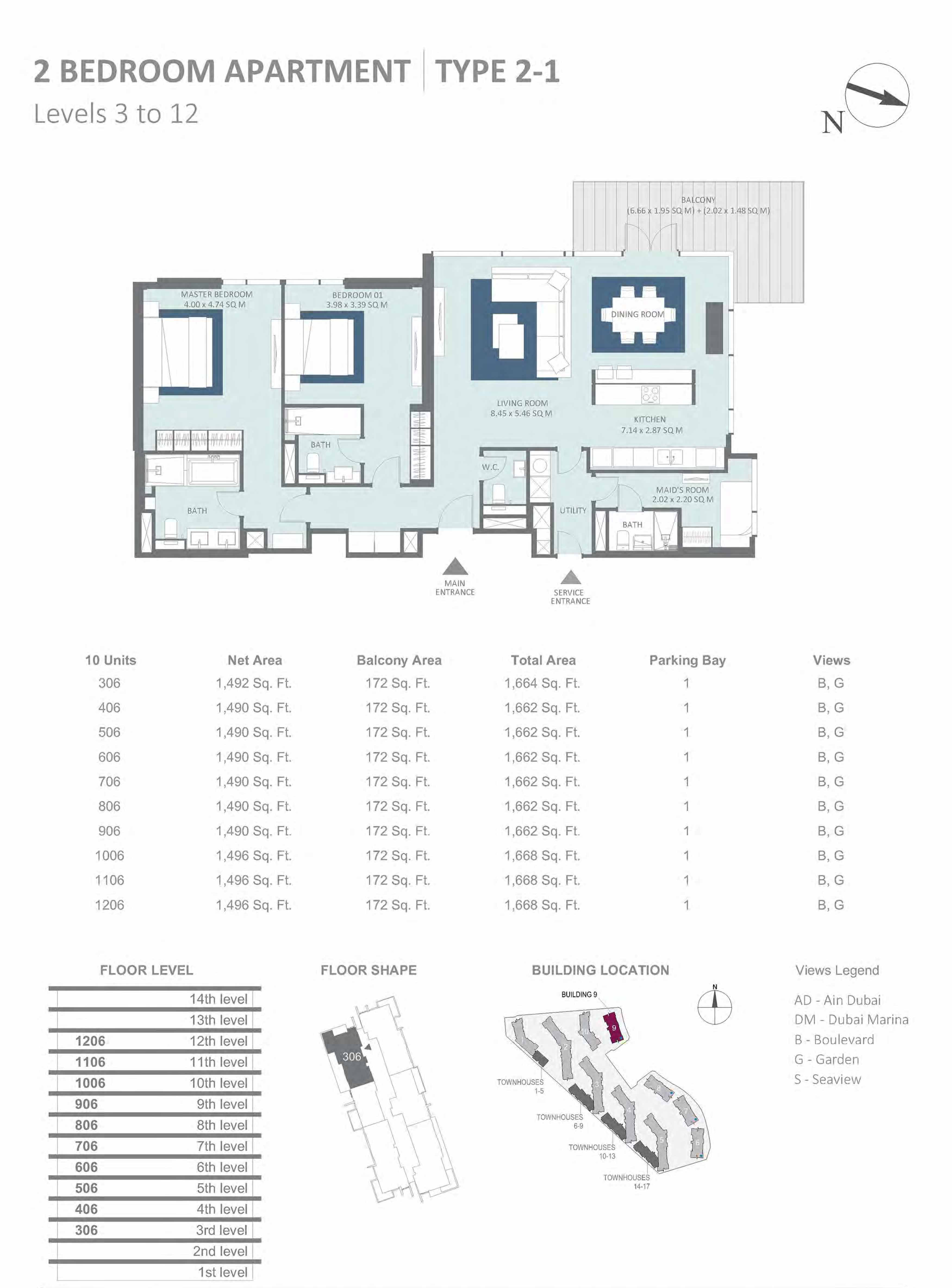 Building 9 - 2 Bedroom Type 2-1, Level 3 to 12 Size 1662 to 1668 sq.ft