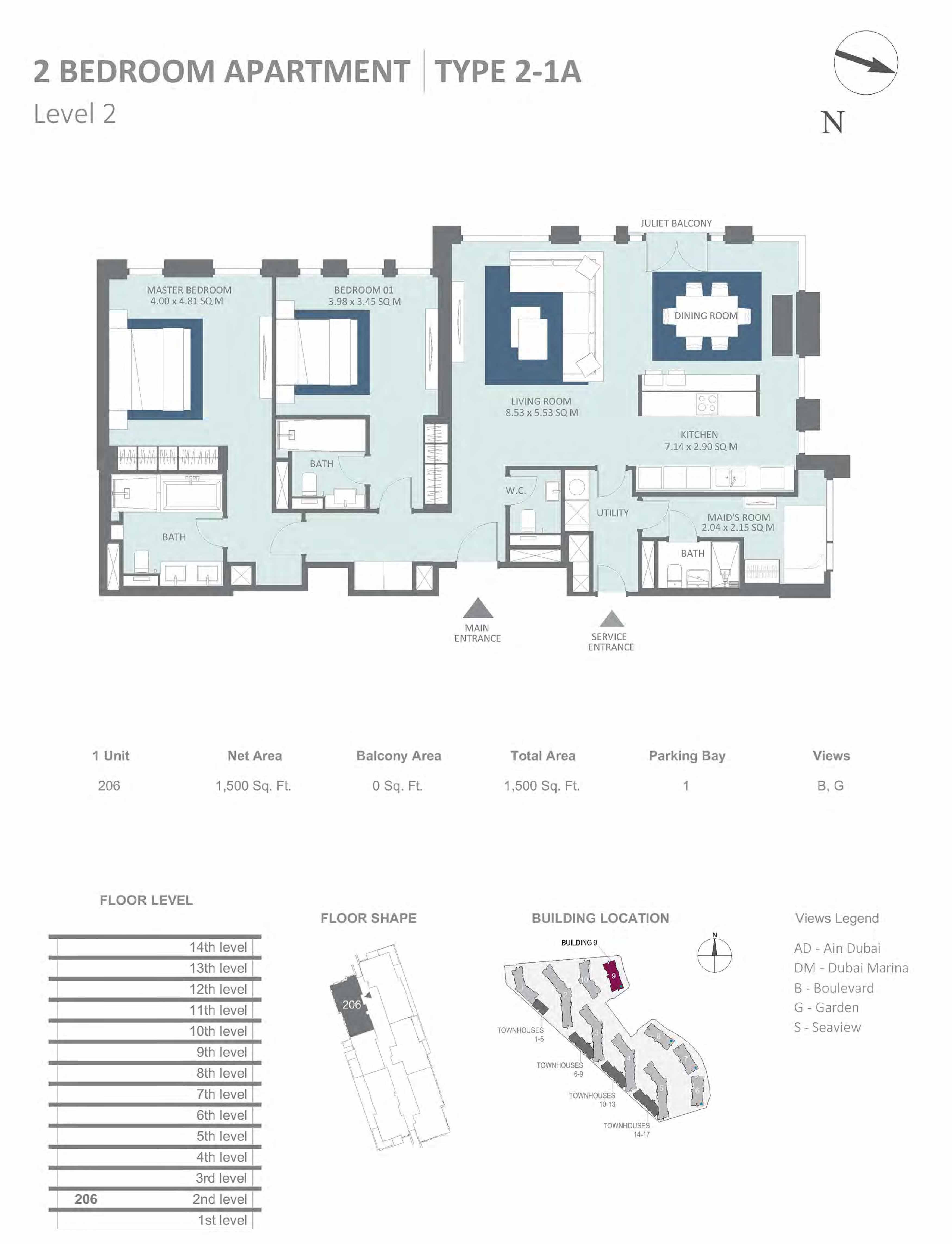 Building 9 - 2 Bedroom Type 2-1A, Level 2 Size 1500 sq.ft