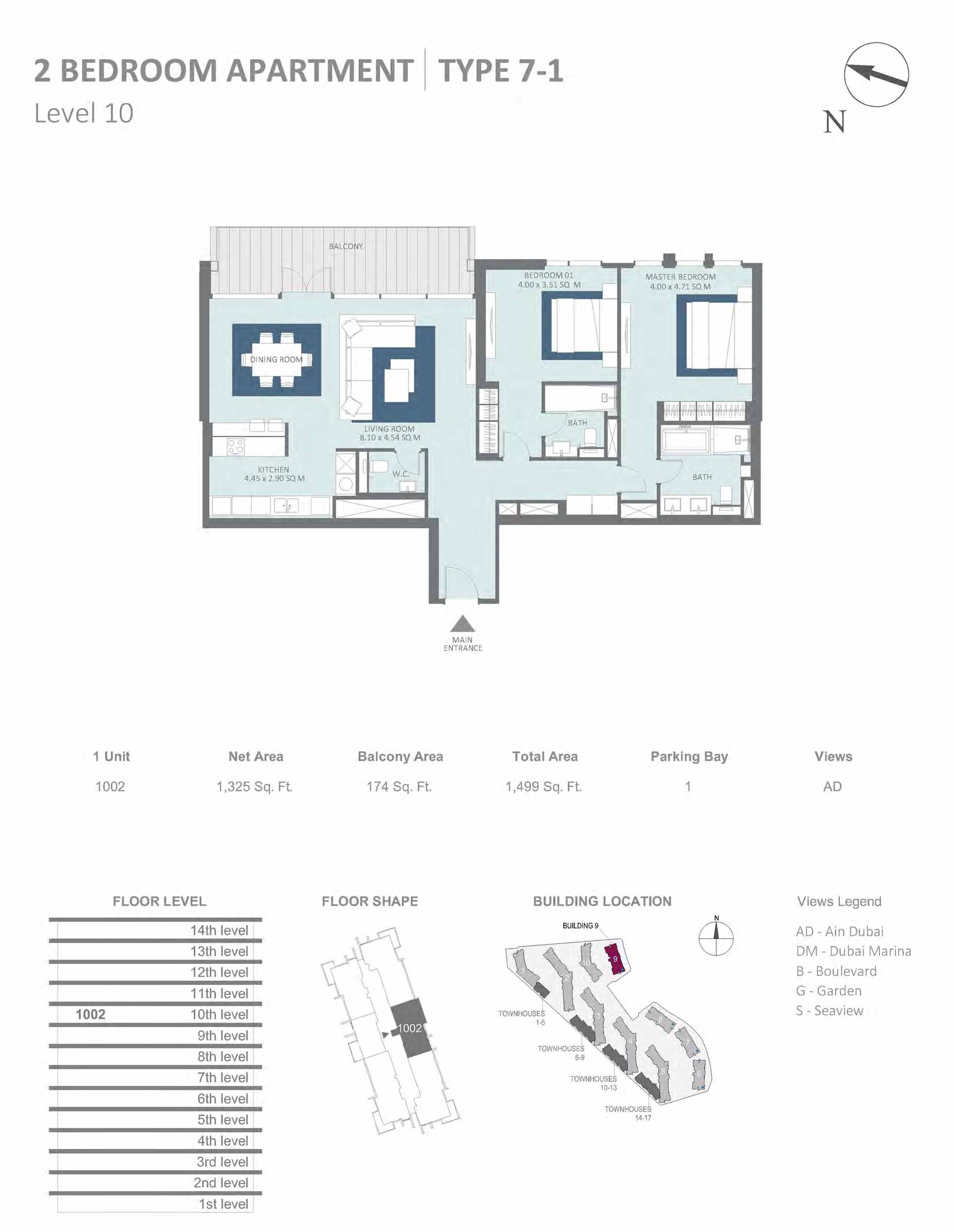Building 9 - 2 Bedroom Type 7-1, Level 10 Size 1499 sq.ft