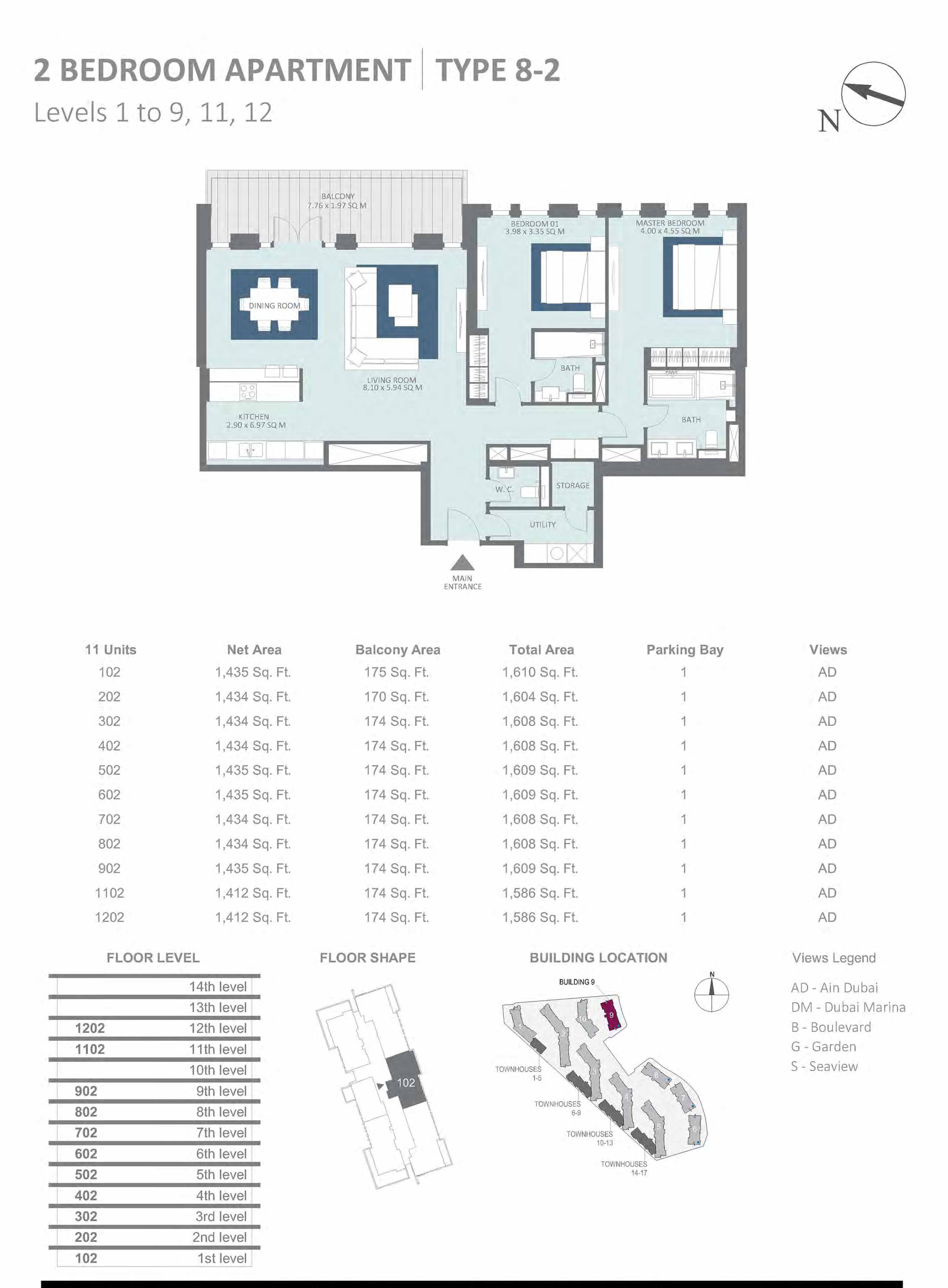 Building 9 - 2 Bedroom Type 8-2, Level 1-to-9 Size 1586 to 1610 sq.ft