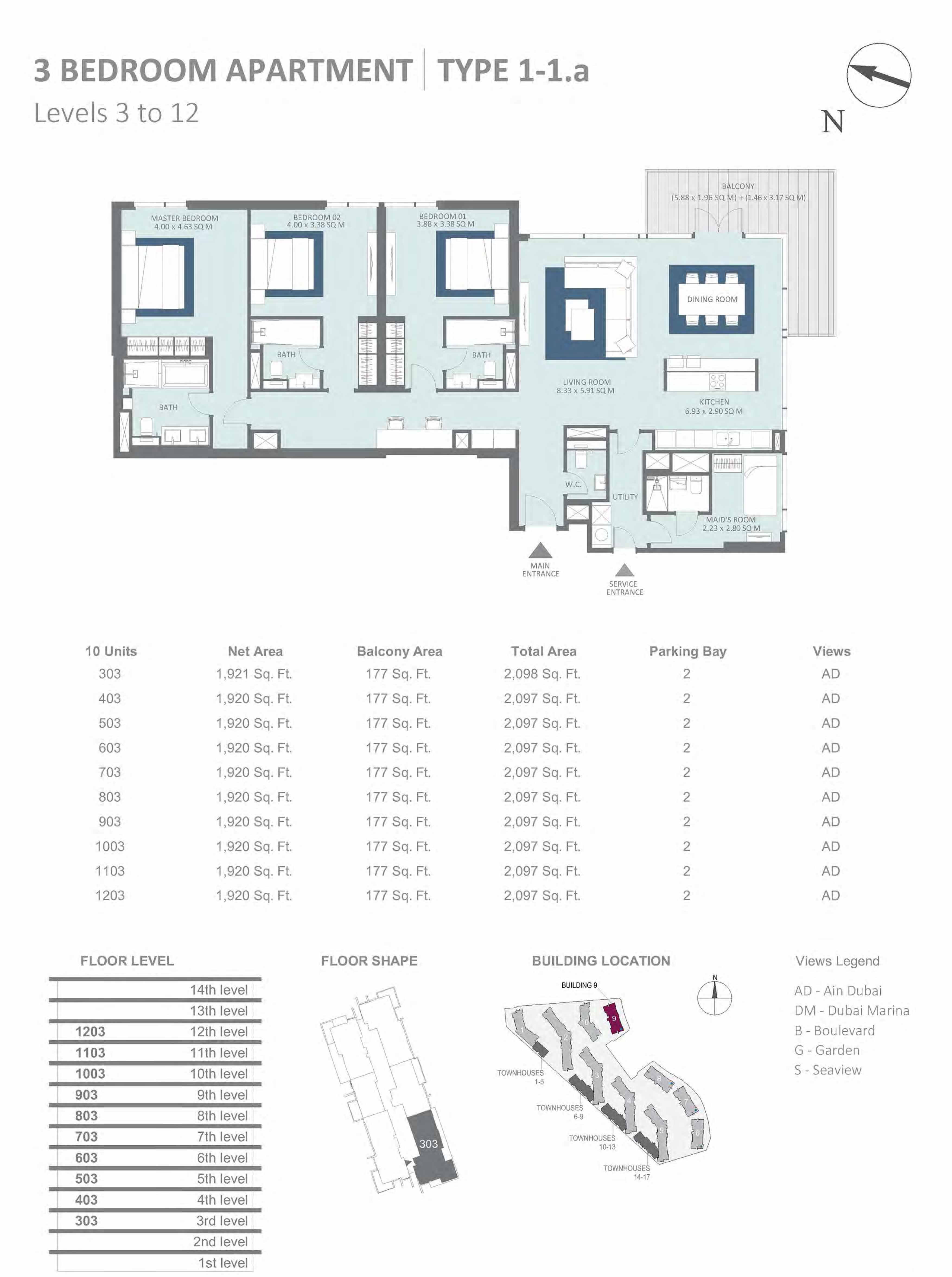 Building 9 - 3 Bedroom Type 1-1A, Level 3-to-12 Size 2097 to 2098 sq.ft