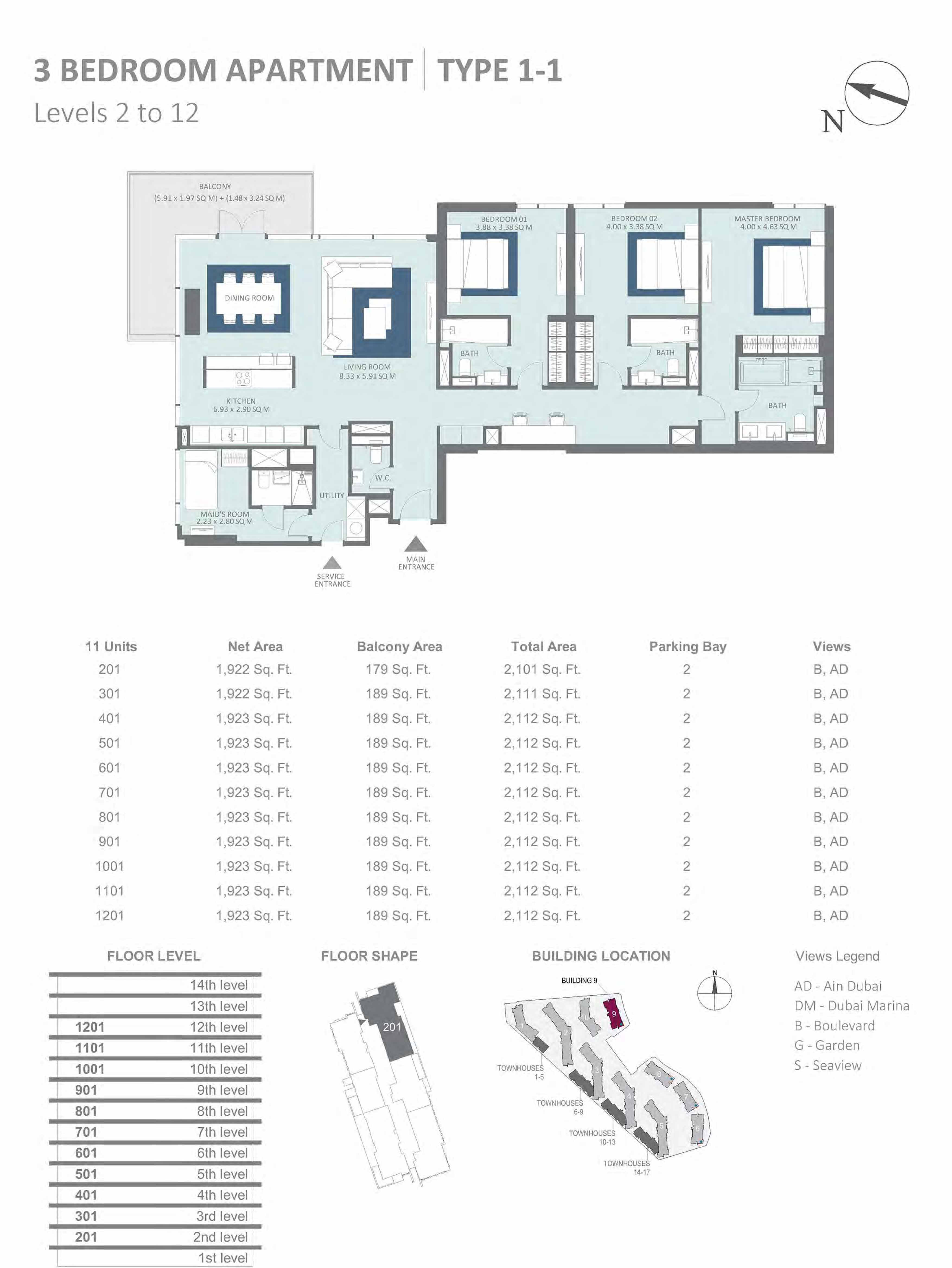 Building 9 - 3 Bedroom Type 1-1, Level 2-to-12 Size 2101 to 2112 sq.ft