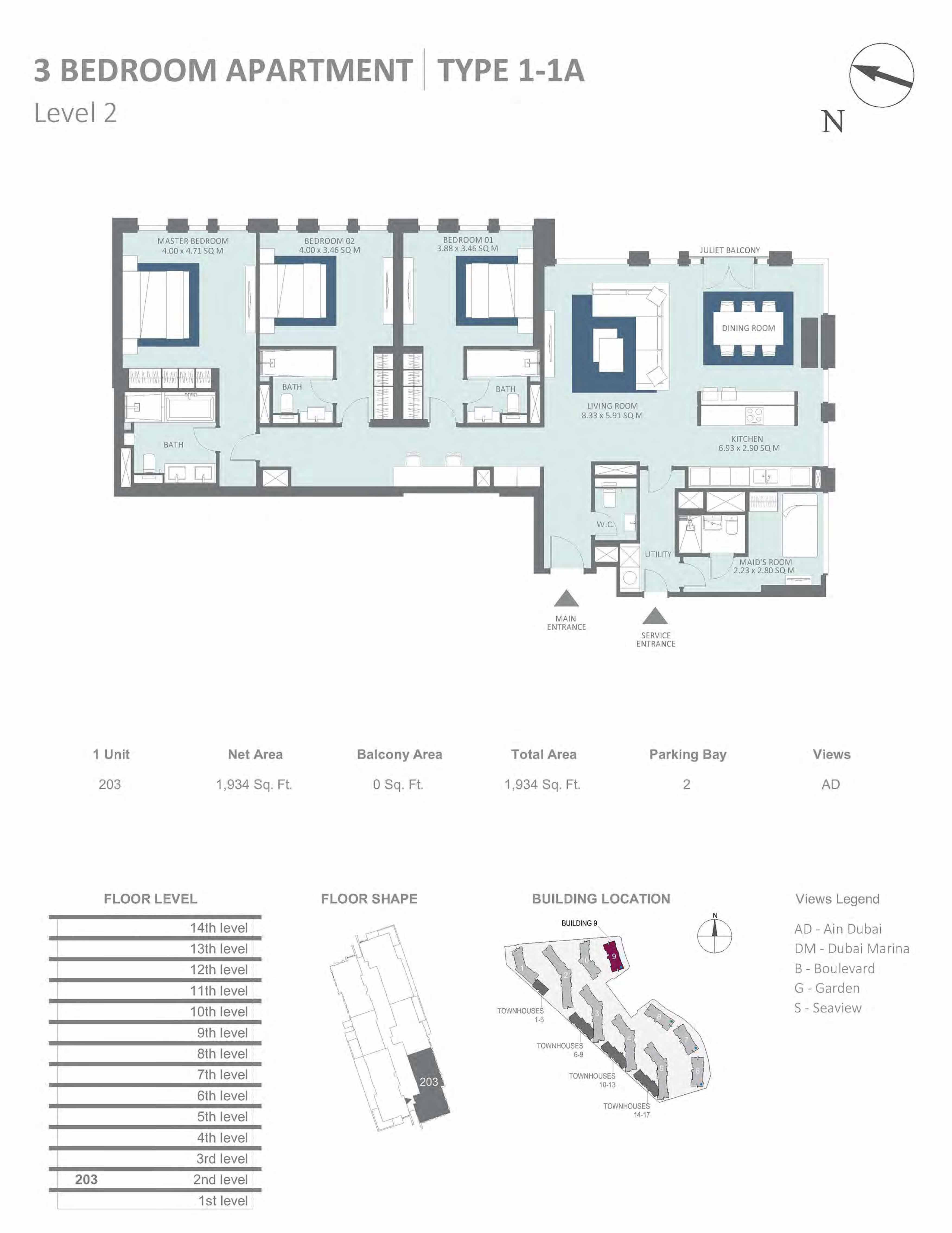 Building 9 - 3 Bedroom Type 1-1A, Level 2 Size 1934 sq.ft