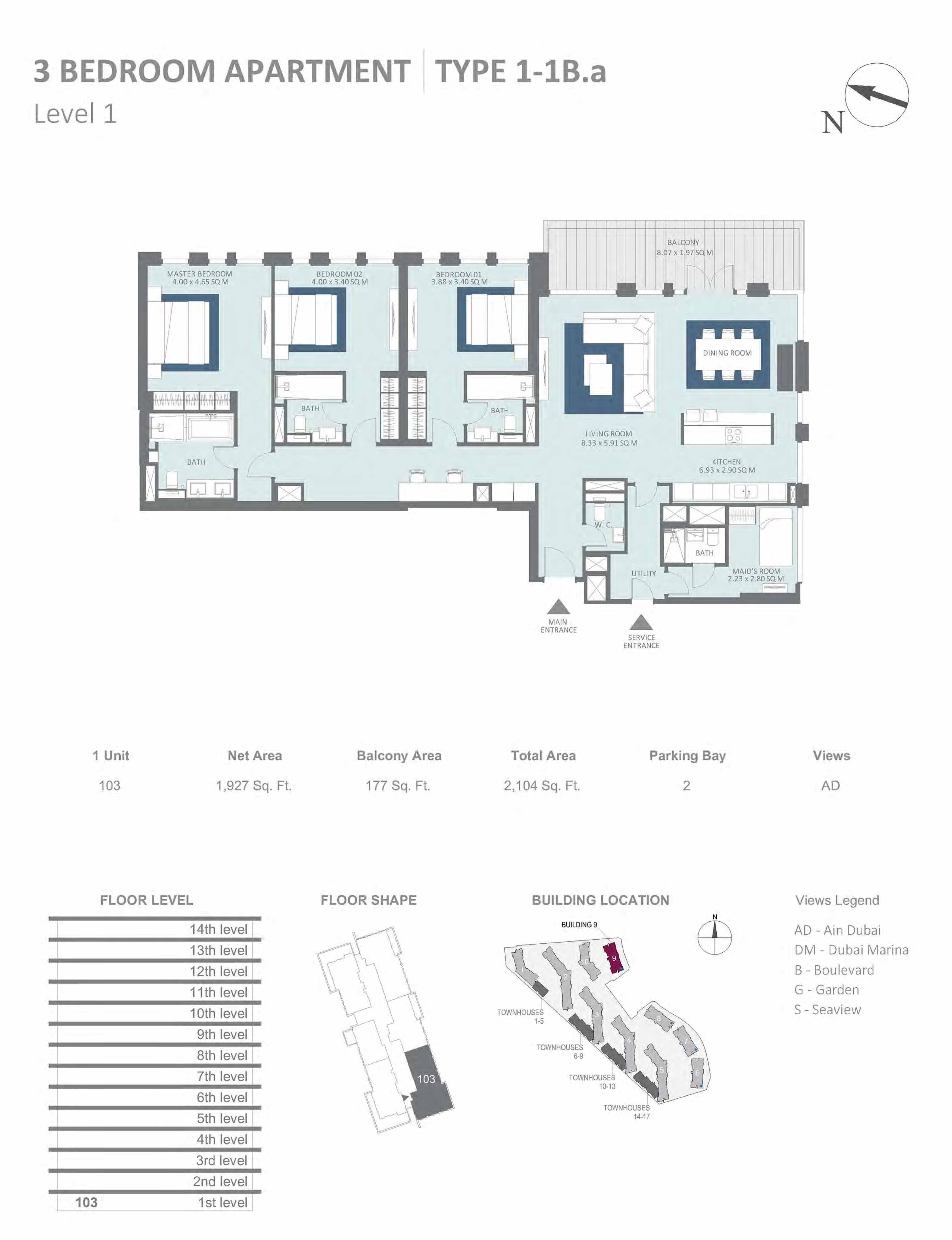 Building 9 - 3 Bedroom Type 1-1B.A, Level 1 Size 2104 sq.ft