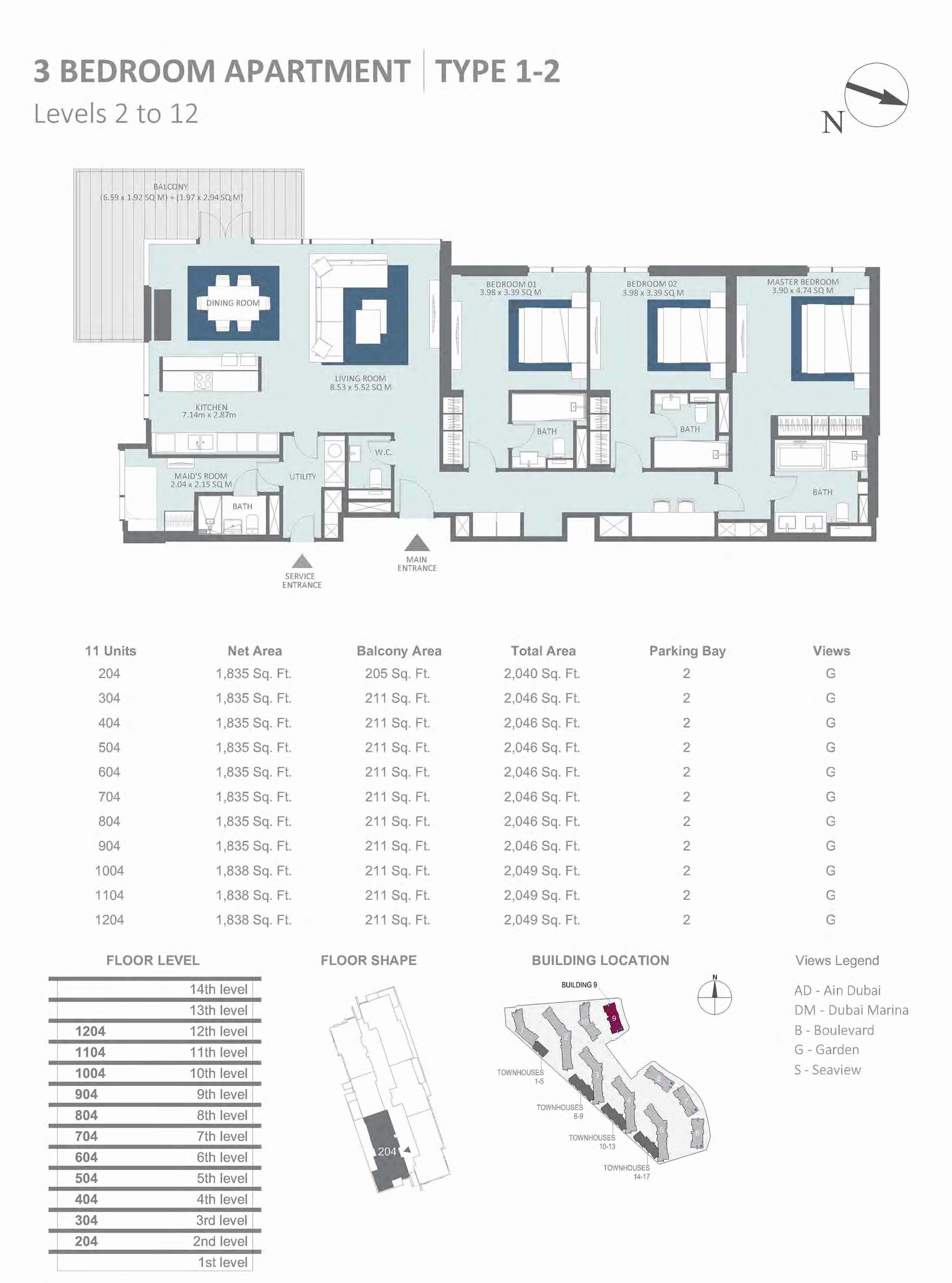 Building 9 - 3 Bedroom Type 1-2, Level 2-to-12 Size 2040 to 2049 sq.ft