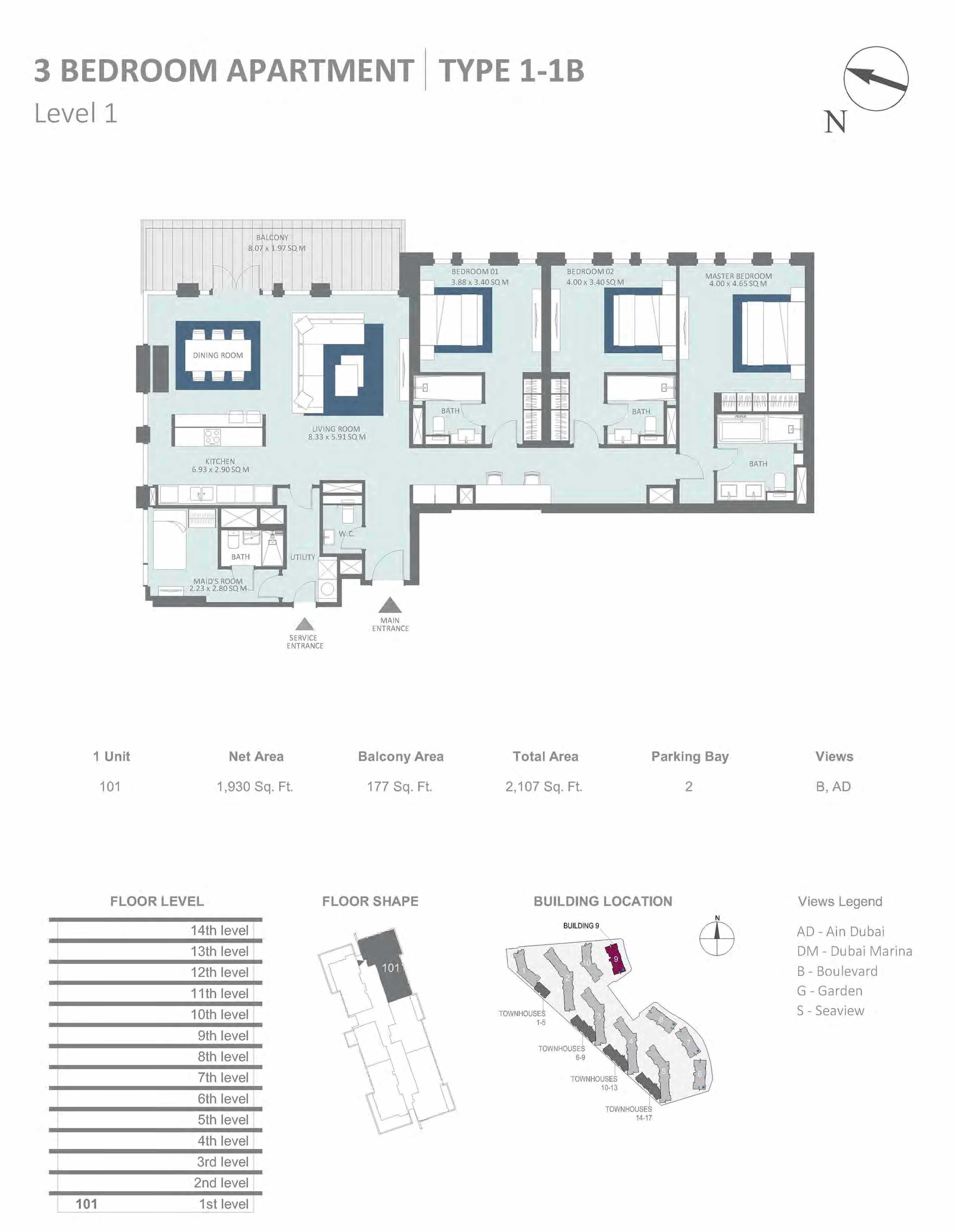 Building 9 - 3 Bedroom Type 1-1B, Level 1 Size 2107 sq.ft