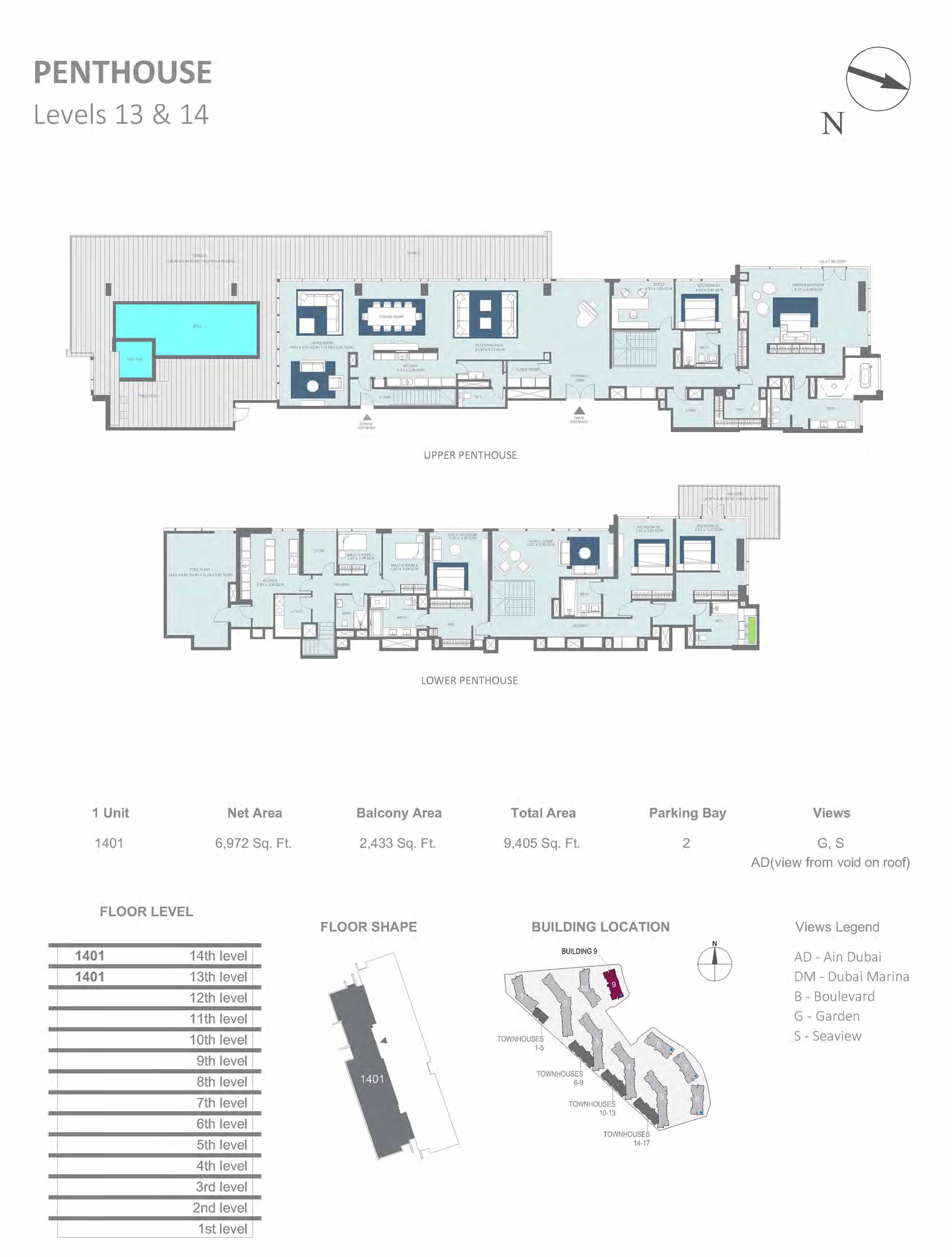 Building 9 - Penthouse, Level 13 & 14 Size 9405 sq.ft