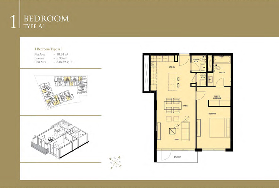 1-Bedroom-Type-A-1, Size-848 Sq Ft
