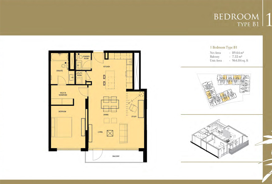 1-Bedroom-Type-B1, Size-964 Sq Ft