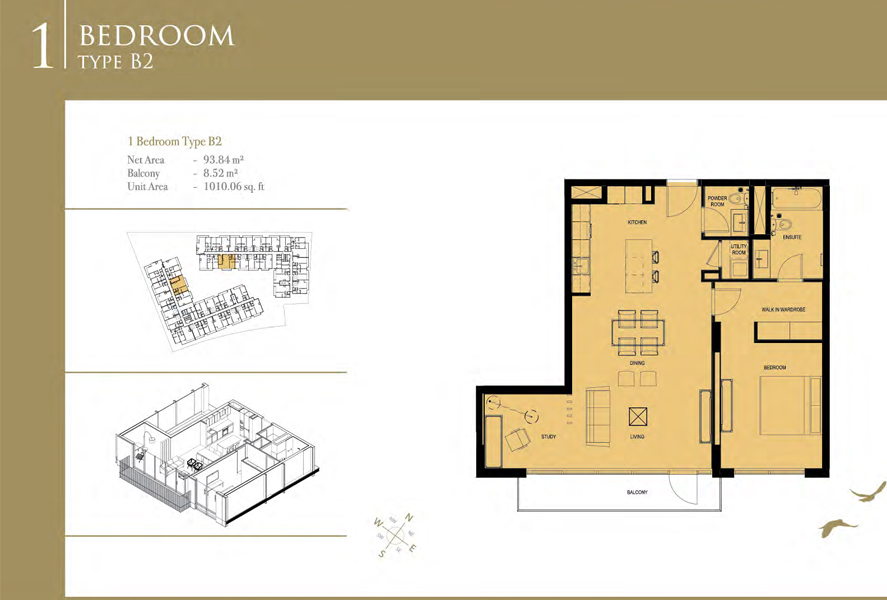1-Bedroom-Type-B2, Size-1010 Sq Ft