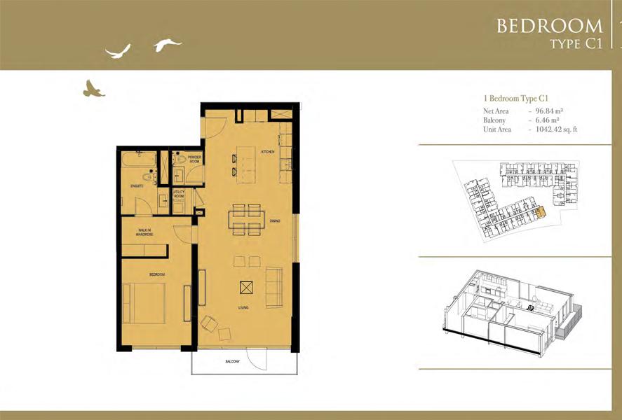 1-Bedroom-Type-C1, Size-1042 Sq Ft
