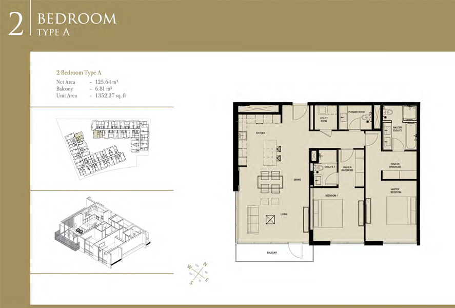 2-Bedroom-Type-A, Size-1352 Sq-Ft