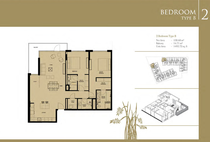 2-Bedroom-Type-B2, Size-1492 Sq-Ft
