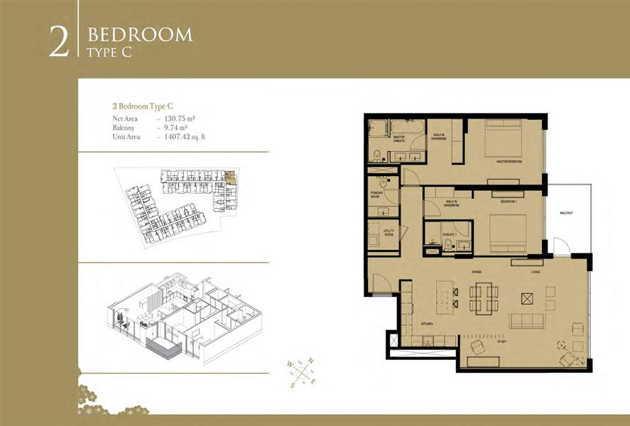 2-Bedroom-Type-C, Size-1407-Sq Ft