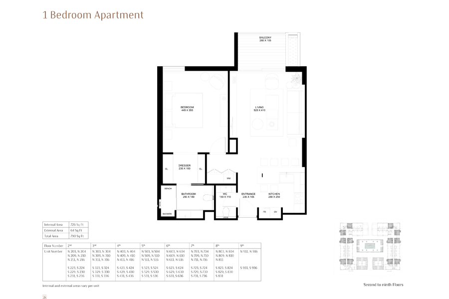 1-Bedroom-Apartment, Size-727-Sq Ft