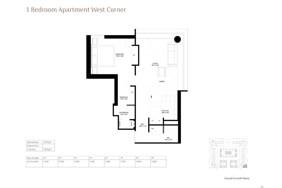 1-Bedroom-Apartment-West-Corner, Size-731 Sq Ft