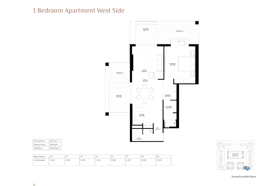 1-Bedroom-Apartment-West-Side, Size-1088 Sq Ft