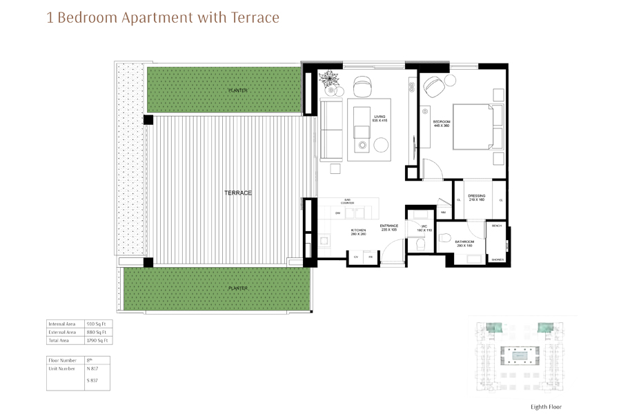 1-Bedroom-Apartment-with-Terrace, Size-1790-Sq Ft
