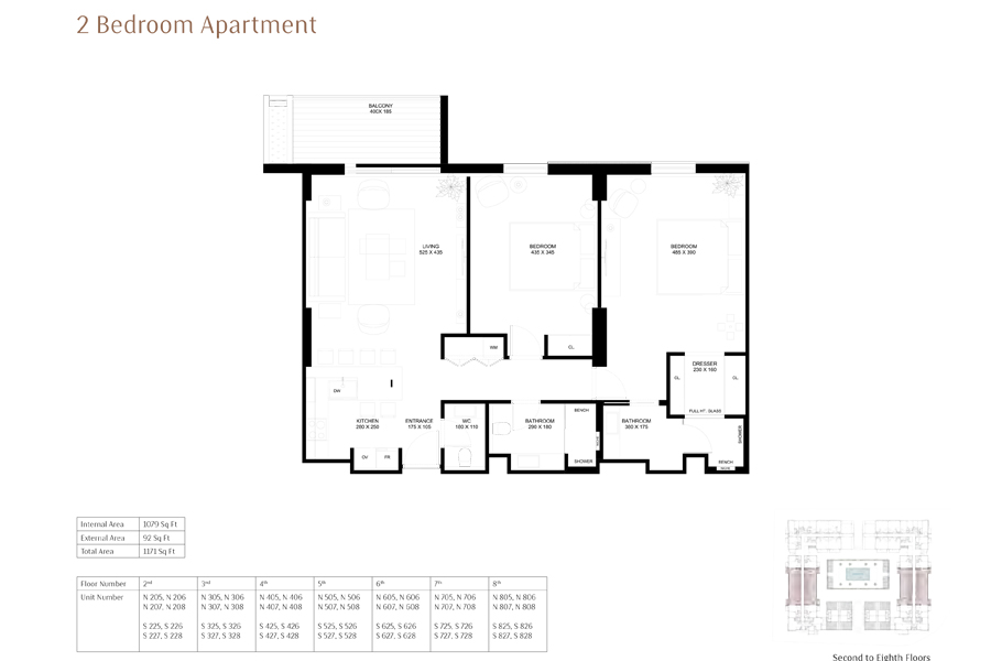 2-Bedroom-Apartment, Size-1171-Sq Ft