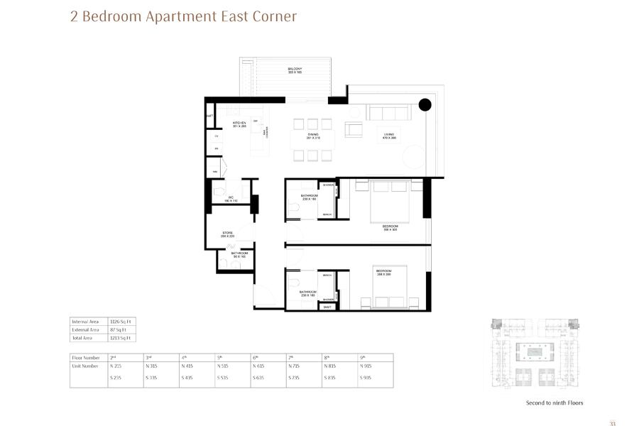 2-Bedroom-Apartment-East-Corner, Size-1213 Sq Ft