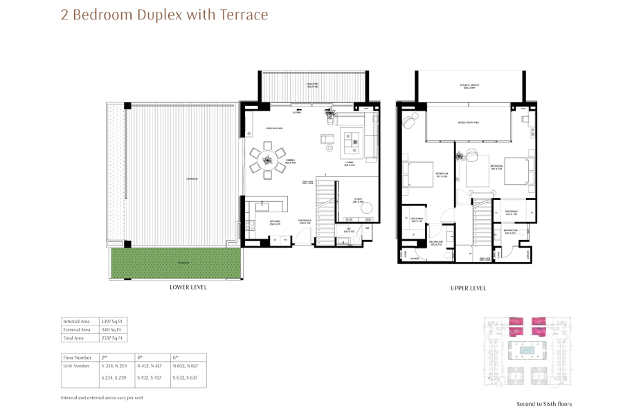 2-Bedroom-Duplex-with-Terrace, Size-2337-Sq Ft