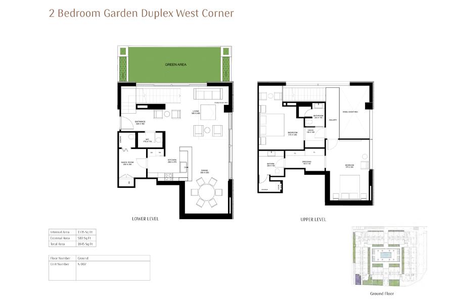 2-Bedroom-Garden-Duplex-West-Corner, Size-1845-Sq Ft