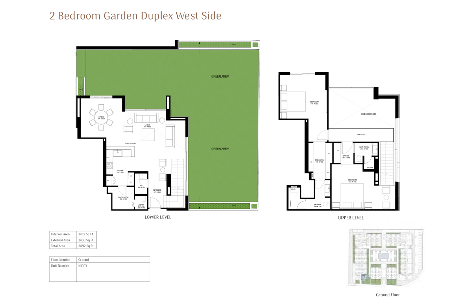 2-Bedroom-Garden-Duplex-West-Side, Size-2892-Sq Ft