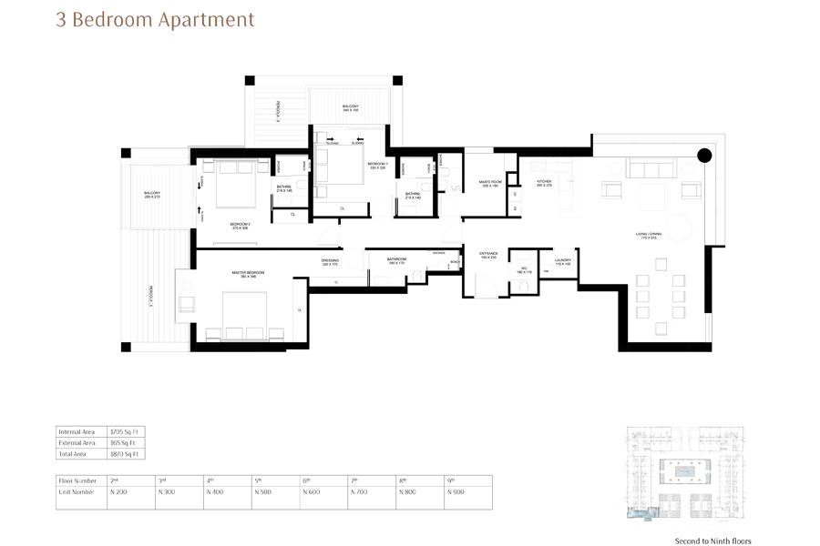 3-Bedroom-Apartment, Size-1870-Sq Ft