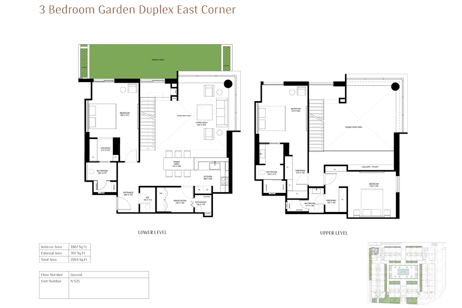 3-Bedroom-Garden-Duplex-East-Corner, Size-2264-Sq Ft