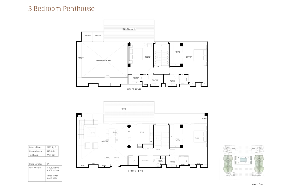3-Bedroom-Penthouse, Size-2794-Sq Ft