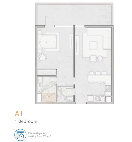 1 Bedroom A1 Apartment, Size 703 sq ft