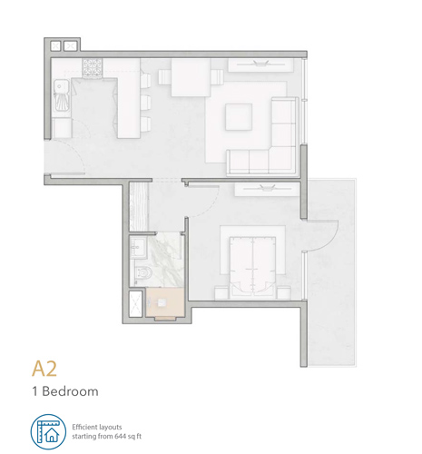 1 Bedroom A2 Apartment, Size 644 sq ft