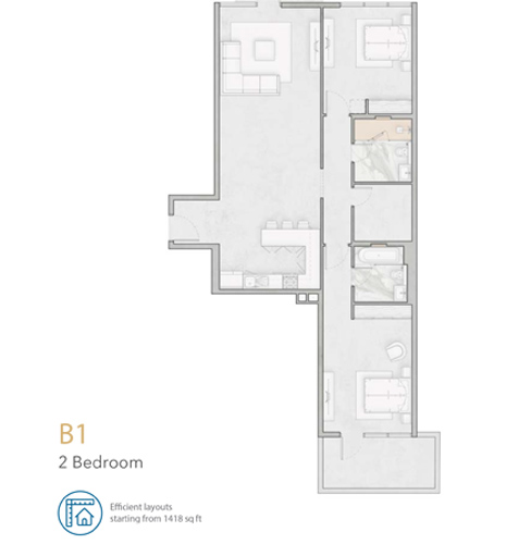 2 Bedroom Apartment, Size 1418 sq ft