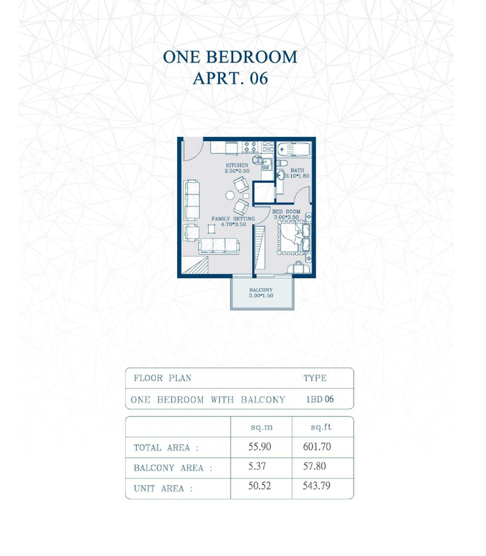 1-Bedroom, Type-1BD06, Size-601 Sq Ft