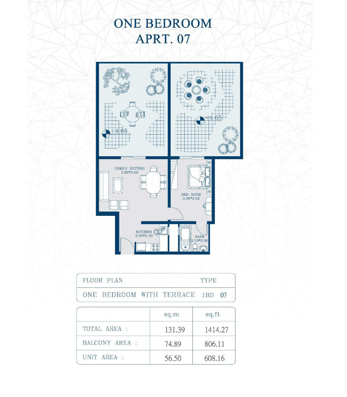 1-Bedroom, Type-1BD07, Size-1414 Sq Ft