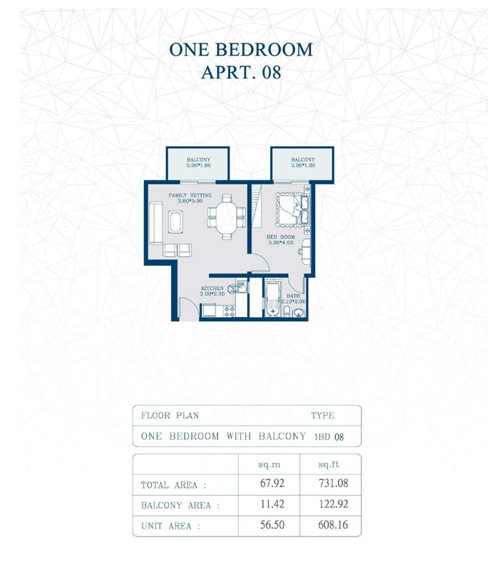 1-Bedroom, Type-1BD08, Size-731 Sq Ft