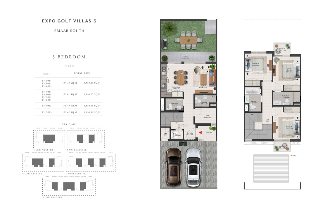 3 Bedroom Type-A, Size 1888 Sq Ft