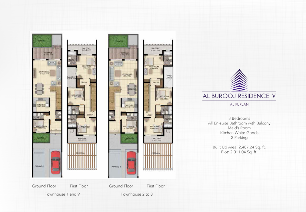 3 Bedroom+Maid's Room, Size 2487 Sq Ft