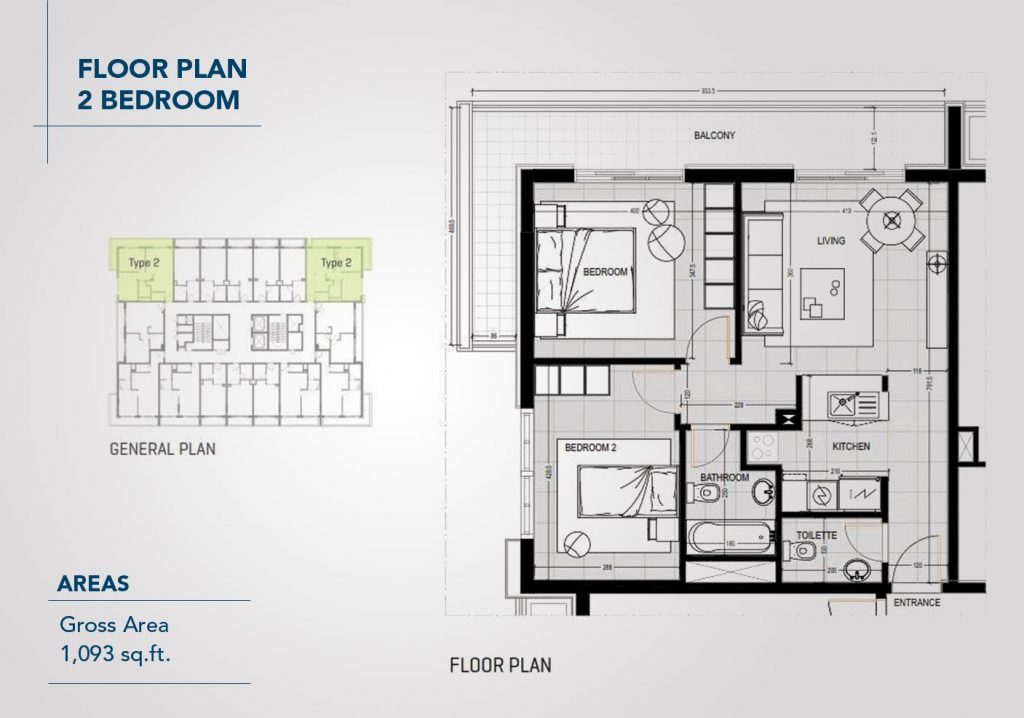 2 Bedroom Apartment, Size 1093 Sq Ft