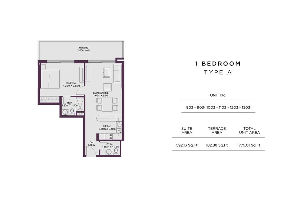 1 Bedroom Type A, Size 775 Sq Ft